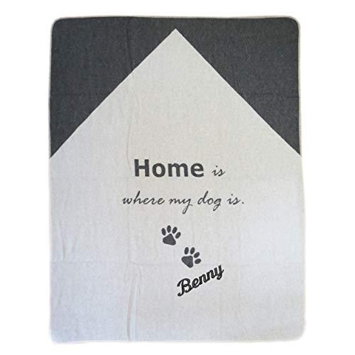 Fussenegger Hundedecke mit Wunsch-Name bestickt 100 cm x 140 cm home is where my dog is Haustierdecke mit Namen personalisiert