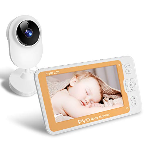 PVO Baby Monitor with 1080P Camera and 2-Way Audio, 5'' HD IPS Screen, Temperature & Sound Alarm, Lullaby, Auto Feeding Clock, Security Camera with 110° Wide Angle, Up to 1000ft of Range, Night Vision