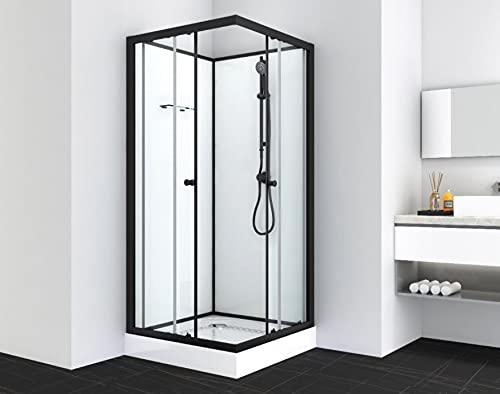 Cabina de ducha completa, incluye plato de ducha de 90 x 90 x 203 cm, entrada de esquina con cristal de seguridad (4 mm) sin techo con perfiles de aluminio negro, incluye sistema de ducha