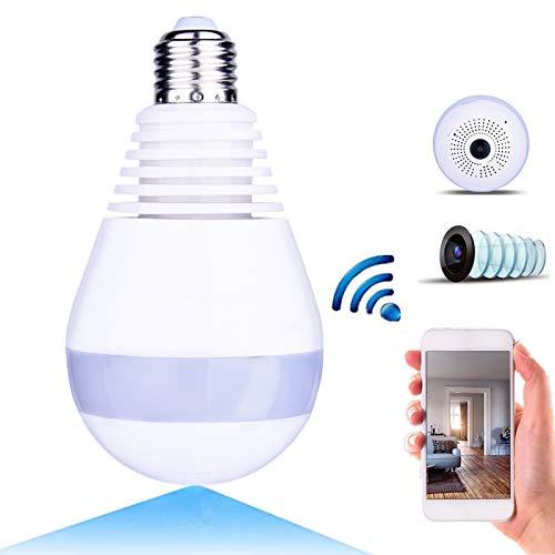 WiFi 1080p Espía Cámara, Cámara de IP Panorámica Inalámbrico HD 360 Grados Fisheye Sistema de Vigilancia de Cámaras de Seguridad para el Hogar, Cámara Domo IP con Remota Monitor