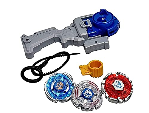 KAS Beyblades 4D 3 in 1 Beyblades Metal Fighter Fury with Fight Ring and Handle Launcher (Multicolor) (Pack of 1 Set)