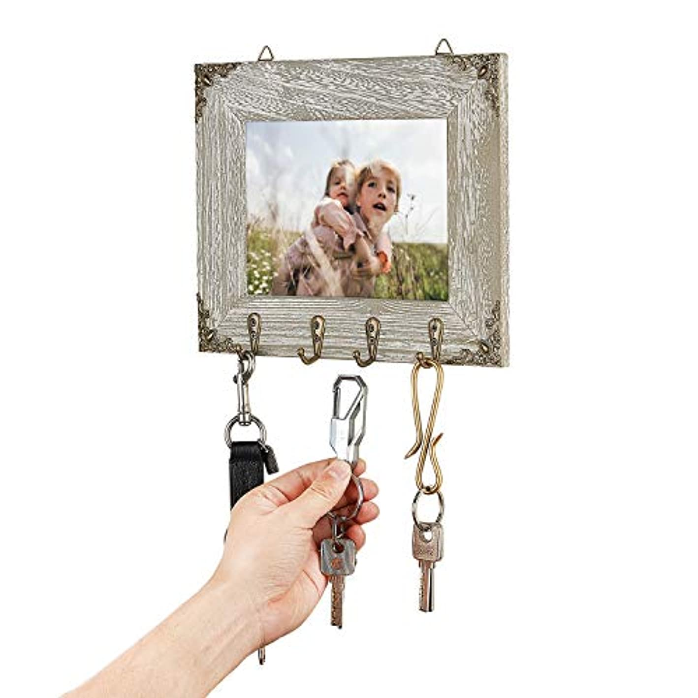 GomReck Key Holder with Wooden Photo Frame Wall Mounted Vintage Key Hook with 4 Rustic Hooks for Your Entryway, Kitchen, Bathroom.(Suitable for 5x7 inch Photos)