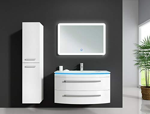 """Oimex Badmöbel Set """"Monica"""" Weiß Hochglanz Waschtisch 90cm inkl. LED Beleuchtung, Glaswaschbecken, Armatur, LED-Spiegel, Größe: Waschtisch + LED Spiegel + 1x Seitenschrank"""