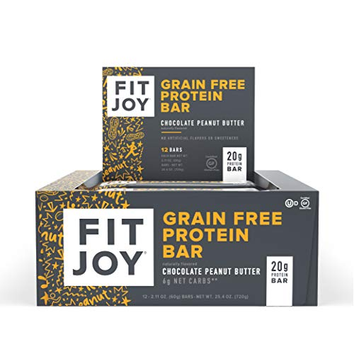 FitJoy Protein Bar, Gluten Free, Grain Free, Low Sugar, High Protein Snack, Chocolate Peanut Butter, Pack of 12 Bars (Packaging May Vary)