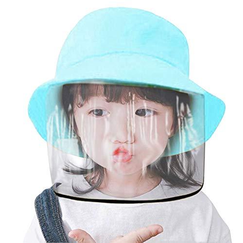 Sombrero protector de cara para niños, antisaliva, anticontaminación, antipolvo, salpicaduras, cubierta facial extraíble a prueba de polvo, sombrero de pescador para niños y niñas, sombrero de algodón, color azul