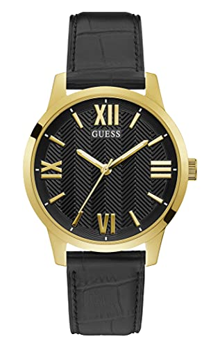 GUESS Men's Stainless Steel Quartz Watch with Leather Strap, Black, 20 (Model: GW0250G2)