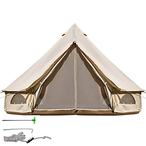 BuoQua 6m Jurte Zelt auf Baumwolltuch Großes Zelt Geeignet für Camping, Versammlungen, Reisen