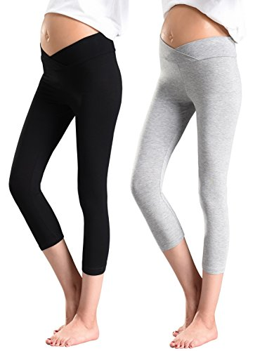 Foucome 2 Pack Women's Under The Belly Super Soft Support Maternity Leggings...