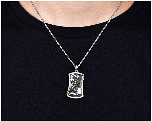 NC110 Collar Colgante Hombres y Mujeres maldición 925 joyería de Plata Regalos para Novio Hijo-silverchain_60cm YUAHJIGE