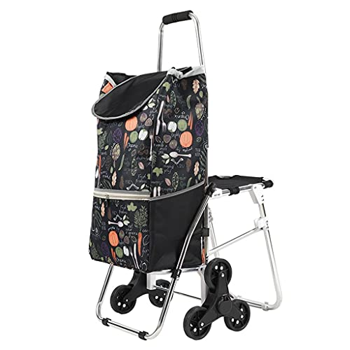 WHL Carro de la Compra Plegable Reutilizable Portátil Escalera Cart Car Car Carros de Compras Carritos de la Tienda de comestibles con Bolsa extraíble (Color : D)