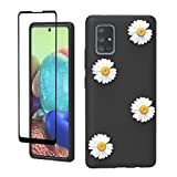 Vinve Samsung Galaxy A51 5G Case, (Not Fit for Samsung Galaxy A51), with Tempered Glass Screen Protector [2 Pack], Flower Design Slim Silicone Soft TPU Protective Floral Case (Black)