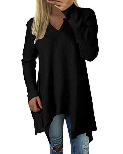 ZANZEA Donna Maglie Elegante Manica Lunga Tinta Unita Inverno Tops Scollo V Casuale Blause Orlo Irregolare 01-Nero S
