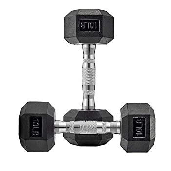 10 Lb Dumbbell Set of 2 Hand Weights Rubber Encased Dumbbell Pair Basics Exercise Fitness Hex Dumbbells with Metal Handle for Men Women Home Gym Full Body Workout Strength Training US Stock