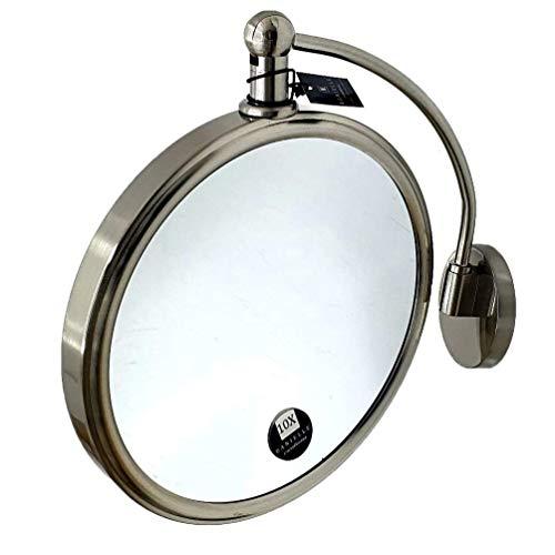 Danielle Creations Miroir rond à fixation murale Bras arqué en nickel satiné 19,5 cm