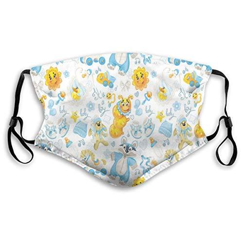 YYTT8 Gesichtsschutz Mundschutz Nasenschutz Wiederverwendbar Waschbar Gesichts Schals Es ist EIN Junge mit Happy Sun Waschbär in Pyjamas blauen Hüten und Schnuller
