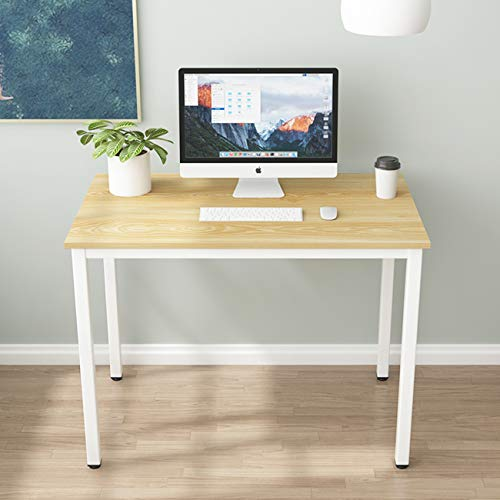 sogesfurniture Schreibtisch Computertisch Büromöbel PC Tisch, 100x60cm Bürotisch Arbeitstisch Esstisch aus Holz und Stahl, Einfache Montage, Helle Eiche BHEU-LD-AC100LO
