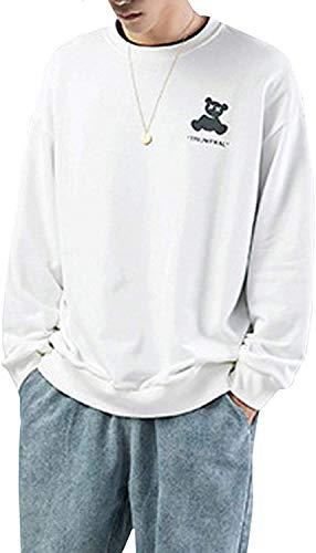[アウニイ] スウェット ドロップ ショルダー ビッグシルエット ゆったり トレーナー 長袖 部屋着 カジュアル 秋 冬 ルームウェア カットソー 服 オシャレ おしゃれ かわいい 可愛い カジュアル メンズ BNR-020 (ホワイト XL)