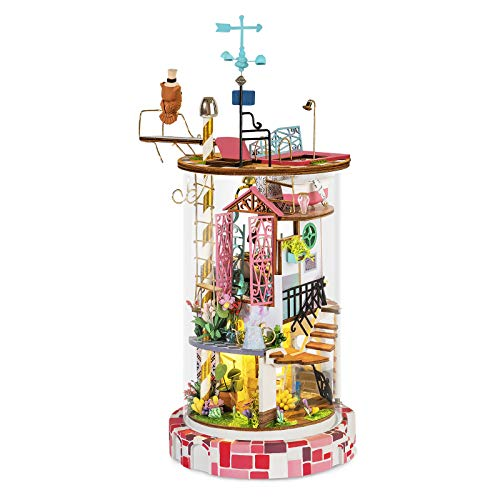 Rolife DIY Miniature Dolls House Kits to Build for Teens Adults, 3D Wooden Doll House with Dust Cover, Craft Gifts for Kids Mysterious World - Bloomy House