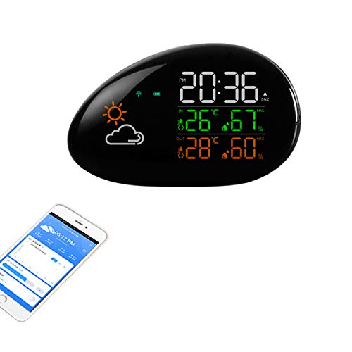 Cloud Even Digital Alarm Wall Clock Weather Station wifi Indoor Outdoor Temperature Humidity Wind Weather Forecast LCD