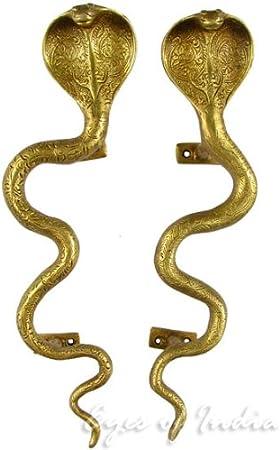Python Cobra Snake Door Handle Brass Handmade Vintage Style Wardrobe Pull BM17