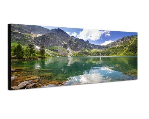 Hohe Tatra Polen Berge Gebirge 150x50cm Breitbild als Panorama auf Leinwand und Keilrahmen fertig zum aufhängen - Unsere Breitbild als Panoramaer auf Leinwand bestechen durch ihre ungewöhnlichen Formate und dem extrem detaillierten Druck aus bis zu 1