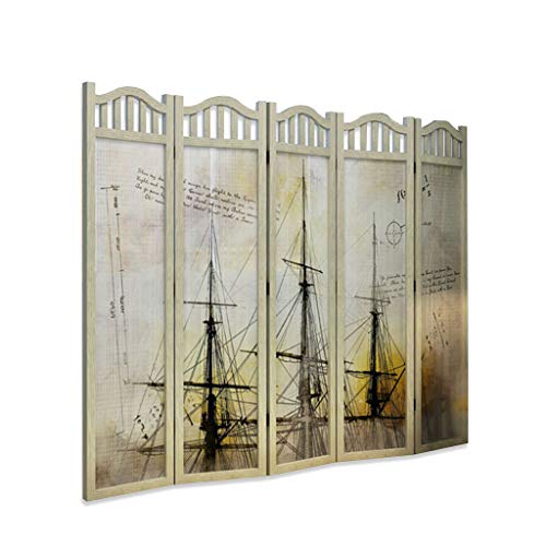 Purchase Even Painting Decoration Wooden Room Divider,Sailboat Pattern with Top Decoration,Tall Pane...