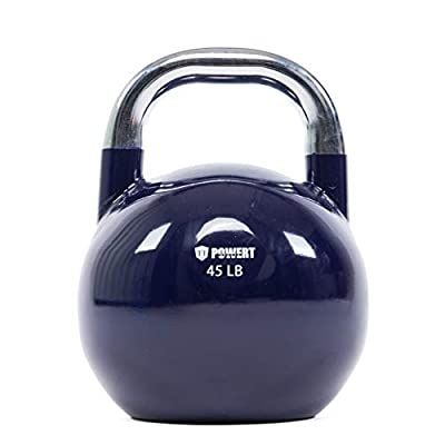 POWERT Competition Kettlebell|Premium Quality Coated Steel|Ergonomic Design|Great for Weight Lifting Workout & Core Strength Training& Muscle Building|Color Coded 10-50LB|Single (45 LB) by TTCZ Sport