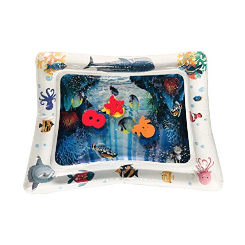 SUIXIN Colchoneta de Agua Inflable para el Tiempo de la Panza - Colchón de Hielo Inflable para bebé Cojín de Agua Juego Inflable de Dibujos Animados de PVC Alfombrilla de Agua Almohadilla de Hielo
