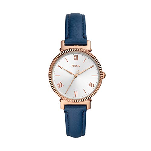 Fossil Women's Daisy Quartz Leather Three-Hand Watch, Color: Rose Gold, Blue (Model: ES4862)