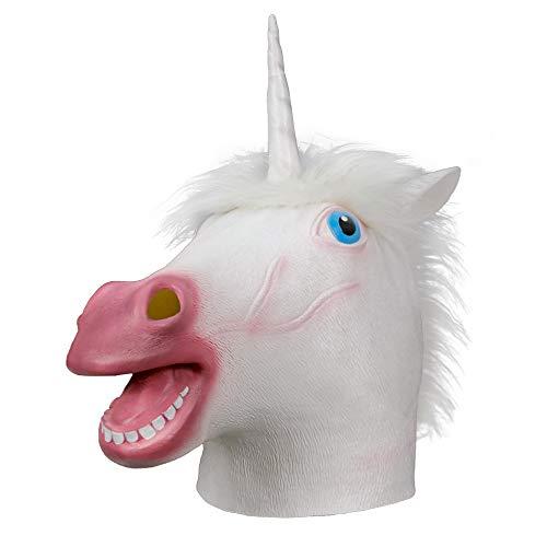 Supremask Tierkopfkostüm, gruseliges Pferdekostüm, Einhornkostüm Latex Cosplay Halloween Party Prop (Weißes Einhorn)