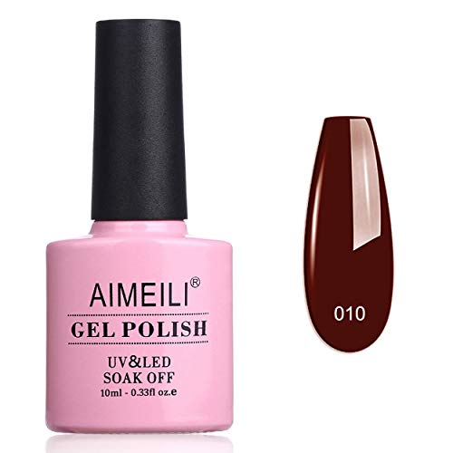 AIMEILI Esmalte Semipermanente De Uñas Soak Off UV LED Uñas De Gel Red (010) 10ml