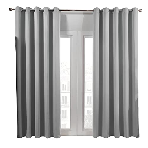 """Dreamscene Eyelet Blackout Curtains Set of 2 Thermal Ring Top Window Treatment Panels - Silver Grey, Width 37"""" x Drop 84"""""""