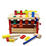 JOYIN Wooden Pounding Bench Classic Tool Toy with Hammer, Kids Wooden Building Set