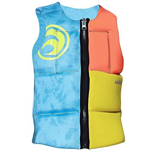 Chaleco Salvavidas Life Jacket para Mujer se Puede Usar en Ambos Lados 110N Neopreno con Cremallera Ligero y PortáTil para Rafting,L