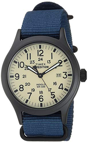 Timex Men's TW4B15600 Expedition Scout 40mm Blue/Black/Cream Nylon Slip-Thru...