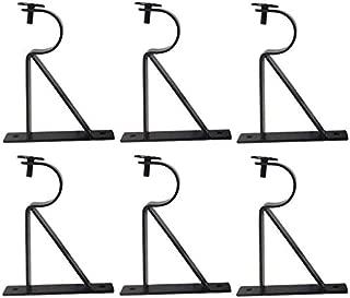 TEJATAN Curtain Rod Brackets - Black (Also Known as - Curtain Rod Holder/Curtain Rod Bracket/Bracket for Drapery Rod/Bracket Set for Draperies Rod/Brackets for Curtains Rod) (Set of 6)