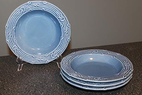 AMERICAN ATELIER Nautical Blue Rim Soup Pasta Bowls SET/4 ~All Blue, Embossed, Rope&Nautical Items