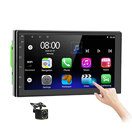 Double Din Android Car Stereo in-Dash GPS Navigation Head Unit 7 Inch Touchscreen Car Video Audio Player WiFi Bluetooth FM USB Mirror Link with Backup Camera