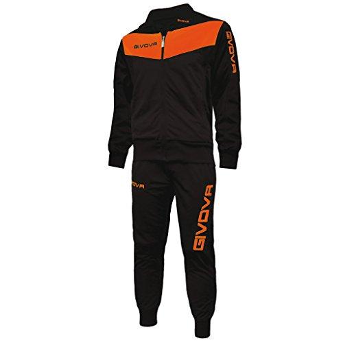 givova Visa Fluo–tuta Sportivo, Nero-arancio fluo, L