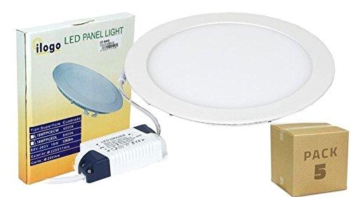 PACK 5 PANELES LED 18W DOWNLIGHT LED 1450LM ILOGO LED