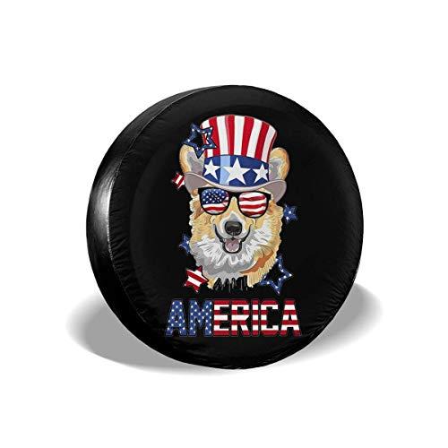Asa Dutt528251 Protectores de Llantas Resistentes a la Intemperie, Cubiertas de Llantas de Repuesto, Sombrero con la Bandera de Estados Unidos, Gafas de Sol, Resistente, Resistente al AG