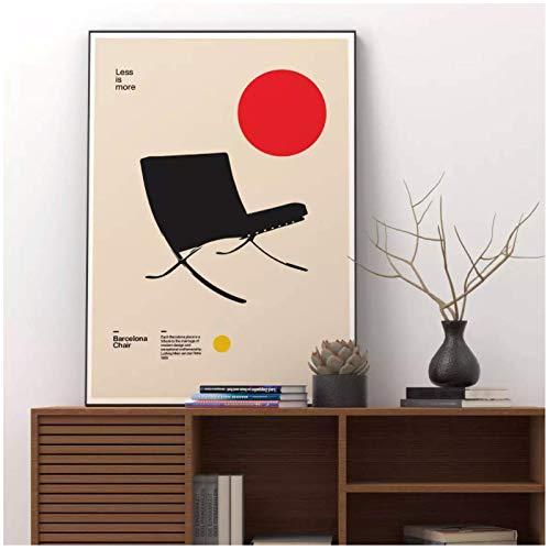 WSTDSM Póster Silla Barcelona Ludwig Mies Van Der Rohe Muebles Diseño Bauhaus...
