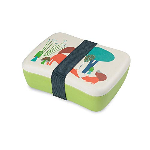 BIOZOYG Lunch Box à bento Enfants Bambou I Boîte à Lunch avec boîte à collation supplémentaire I Motif Mixte - Renard de Crèche I Lunch Set to Go sans BPA et sans Danger pour la Nourriture