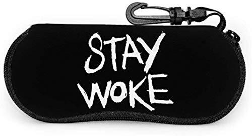Stay Woke Ultra Light Draagbare Brillen Case met Karabijnhaak Waterdichte Rits Zonnebril Zachte Case