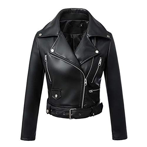CNBPLS Black Faux Lederjacke Frauen, Kurze Weiche PU-Lederjacken, Mit Gürtel-Reißverschluss Moto-Biker-Mantel,Schwarz,M
