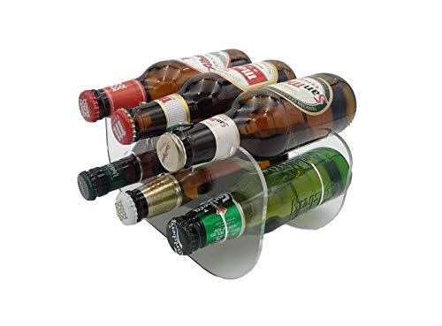 Laserplast Botellero Cervezas 250 ml. para frigorífico de metacrilato Transparente - Capacidad 6 Botellas 1/5 - Soporte botellines de Cerveza en acrílico (1 Unidad)