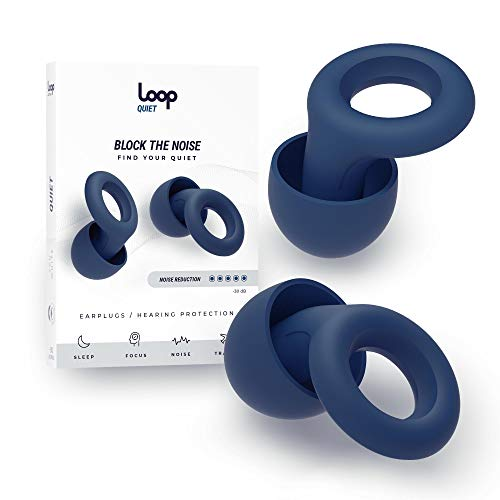 Loop Quiet Noise Reduction Earplugs – Super Soft, Reusable Hearing Protection in Flexible Silicone for Sleep, Noise Sensitivity & Flights - 6 Ear Tips in S, M, L – 25dB Noise Cancelling - Blue