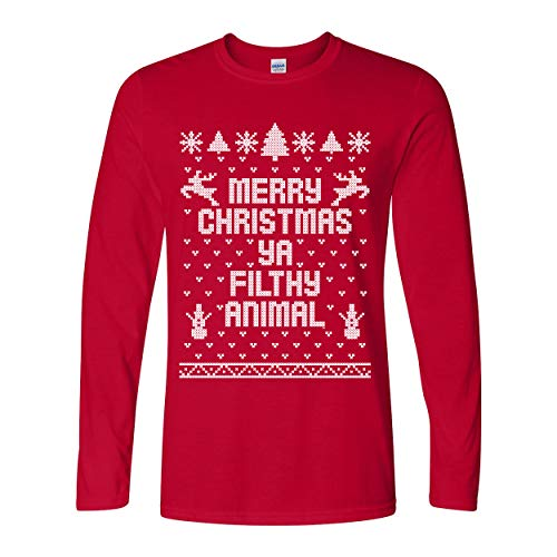 Ya Filthy Animal Merry Christmas Ugly Christmas Sweater Contest Party Long Sleeve Shirt Red