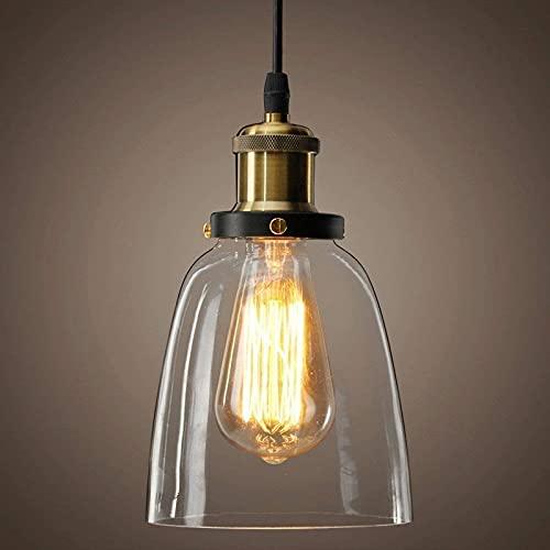 Lightess Lámpara Vintage Techo, Colgante Luz Industrial con Cristal Transparente, Lámpara de Techo E27 para Salón Cocina Restaurante Cafetería