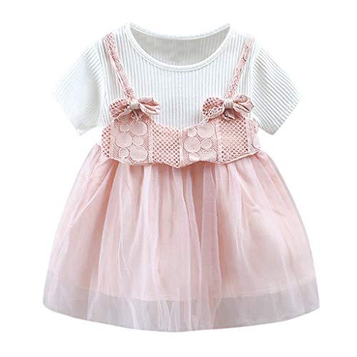 BBsmile Ropa Bebe Niña Recien Nacido Verano 0 3 a 24 Meses - 1PC/ Manga Corta Bowknot Tul Flor Princesa Vestido Conjunto de Ropa